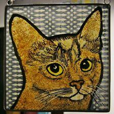 "Abbyssinian Cat Windshop stained glass suncatcher kiln-fired 4""x 4"" #59"