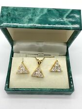 Suzanne Somers Vermeil Sterling Silver Trillant White CZ Necklace + Earring Set