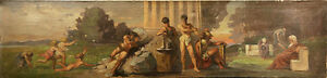 Antique Oil Allegorical Scene Painting of Figures frolicking in Landscape