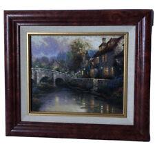 "New ListingThomas Kinkade ""Cobblestone Brooke� Signed Canvas Framed Oil Painting 12�x14�"