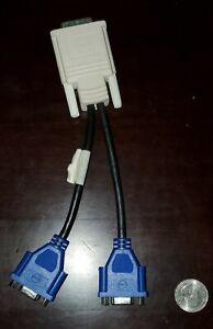 Molex 687730005 Rev E DMS-59 Used Male to Dual Female VGA Y Cable