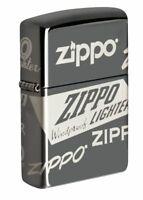 Zippo Logo 360 Laser Design Black Ice Windproof Pocket Lighter, 49051