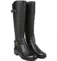 Naturalizer Womens Black Jamie Leather Wide Calf Riding Boots Sz 7.5M 10138 *