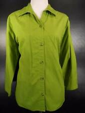 Beautiful Women's XL Columbia Green 3/4 Sleeve Fitted Button Blouse GUC