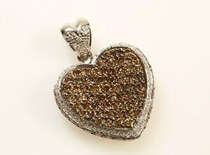 Le Vian Near 2 Carat TW White & Chocolate Diamonds 14K White Gold Pave' Heart Pe
