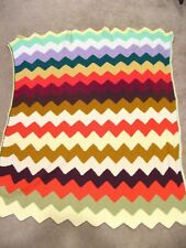 Vintage ? CROCHET AFGHAN BLANKET Throw 62 x 48 Chevron Rainbow ZIGZAG Homemade