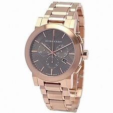 NEW Burberry Taupe Chronograph Dial Rose Gold Plated Steel Men's Watch BU9353