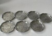 "Vintage Everlast Forged Aluminum 3.5"" Coasters Saucer Rare Rose Flower Set Of 7"
