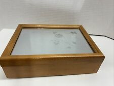 """Vintage Wood Jewelry Box Mirrored Top Etched Floral Design 11""""x8"""""""