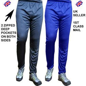 Mens Sports Cricket Gym Jogging Trouser Plain Shiny Polyester 2 Zipped Pockets