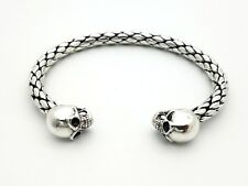 Sterling Silver 925 Braided Double Skull Biker Gothic 7.5' Bangle Cuff Bracelet