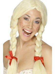 Womens Schoolgirl Wig Long Blonde Braided Hair Pigtails Dutch School Girl Adult