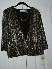 Alfred Dunner Womens Blouse Gold Chain Shiny Petite Medium New