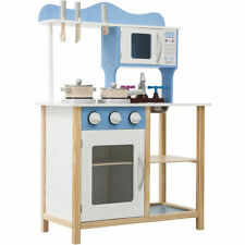 Kids Wooden Play Kitchen in Blue Children's Role Play Pretend Set Toy Kitchen