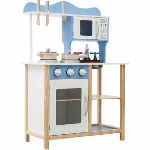 Kids Wooden Play Kitchen in Blue Children's Role Play Pretend Set Toy Kitchen