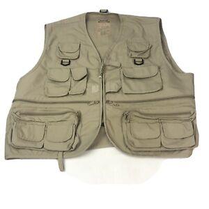 Master Sportsman Fly Fishing Vest Beige Zip Pockets Adult Mens XL Full Zip