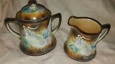 Vintage Japanese moriage dragonware porcelain cream and sugar set
