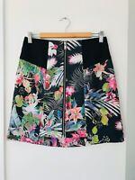 PORTMANS Signature Size 10 Black Floral Zip Front A Line Stretch Lined Skirt