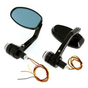 """MOTORCYCLE 7/8"""" HANDLEBAR BAR END MIRRORS TURN SIGNALS DRL LIGHT FOR CAFE RACER"""