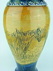 """A Monumental Doulton Lambeth Vase Decorated with Horses by Hannah Barlow. 16""""!"""