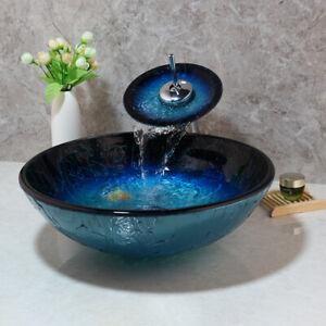 Bathroom Oval Tempered Glass Vanity Sink Bowl Washroom Basin Faucet Pop Up Drain