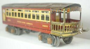 Vintage Ives/Lionel RR Lines O Gauge Tinplate 1691 Observation Passenger Coach