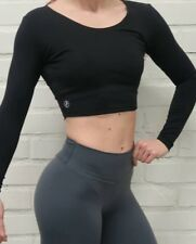 READ! ABS2B Fitness Kari Cropped flex Top Thick Black Small Women Sport Gym Sexy
