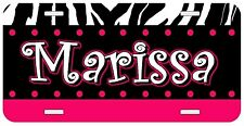 Personalized Monogrammed Custom License Plate Auto Car Tag Zebra Polka Dots Pink