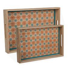 Set di 2 sala da pranzo in legno che servono Lap Vassoio Letto Colazione Cibo Maniglia da cucina NUOVO