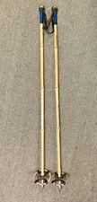 "Vintage Antique Wooden Bamboo Leather SKI POLES 42"" Long 4"" Baskets Cabin Decor"