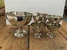 Silverplate Punch Bowl & 6 Cups