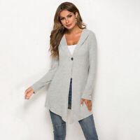 Womens Knitted Sweater Hooded Hoodies Long Cardigan Coat Ladies Winter J