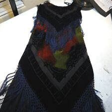 ANIA A Velvet Silk Fringed Sheer DRESS W/ Silk Scarf Sz Womens M