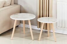 2 Set of Flesh Marble Look Round Coffee Side Table Nightstand Wooden Leg