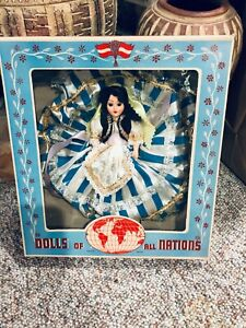 DOLLS of all NATIONS #111 GREEK GIRL in BLUE STRIPE DRESS