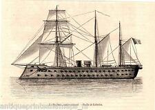 Antique print Magenta warship Navy frigate cannon boat war 1863 ship France
