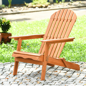 Eucalyptus Wood Chair Foldable Outdoor Wood Lounger Adirondack Chair NEW