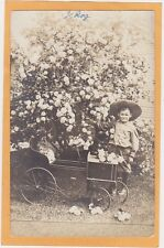 Real Photo Postcard RPPC - Boy and Pedal Car in Garden
