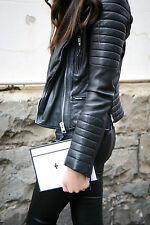 AllSaints Women's Vintage Black PITCH Leather Biker Jacket UK 4