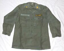 VTG U.S. Army Fatigue Shirt OG107 Cotton Sateen Size 15 1/2 x 31 Vietnam Era