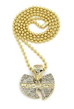 """NEW ICED OUT WU TANG PENDANT &3mm/27"""" BALL CHAIN HIP HOP NECKLACE - BXZ81"""