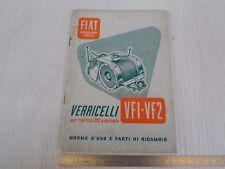 RARO: MANUALE USO MANUTENZIONE PER VERRICELLO TRATTORE FIAT CINGOLATO 25C 1952