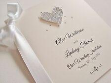 Personalised Ribbon Tied Luxury Glitter Heart Bling Wedding Invitation Sample
