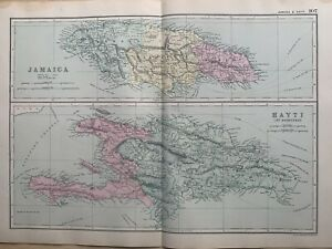 1891 Jamaica Haiti Santo Domingo Antique Hand Coloured Map by G.W. Bacon