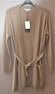 M&S AUTOGRAPH WOOL & CASHMERE LONGLINE BELTED CARDIGAN SIZE 8 CAMEL - BNWT