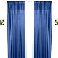 """ROYAL NAVY BLUE SLOT TOP SHEER SOFT FOLD VOILE NET CURTAIN PANEL/S 55"""" WIDE"""