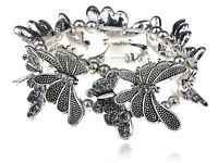 Silver Light Crystal Rhinestone Butterfly Bracelet Bangle Cuff Wristband Jewelry