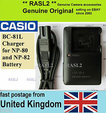 Genuine Casio Caricabatterie bc-81l Exilim ex-h60 ex-zs50 EX-zs150 zs100 zs6 qv-r100