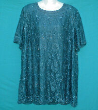 Vintage 80S Candlelight & Champagne Beaded Cocktail Club Party Top Size 26W