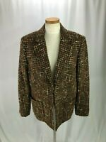Jones New York Signature Woman Wool Blend Blazer 14W Brown plaid fuzzy Jacket